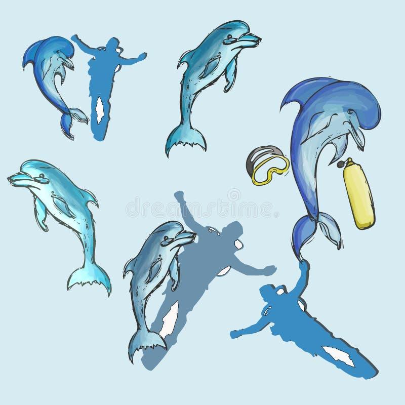 Delfin ustalona ręka rysująca royalty ilustracja