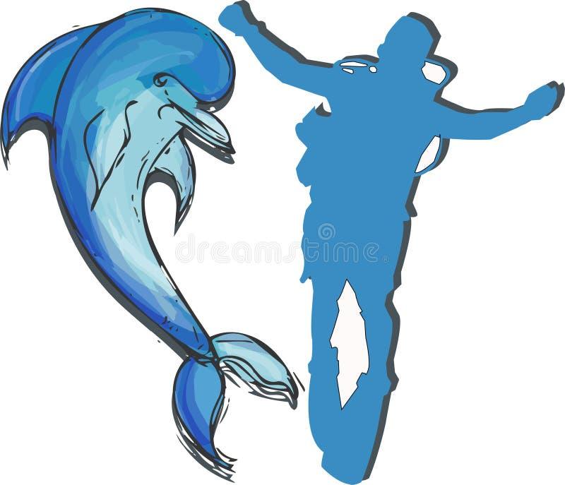 Delfin ustalona ręka rysująca ilustracja wektor