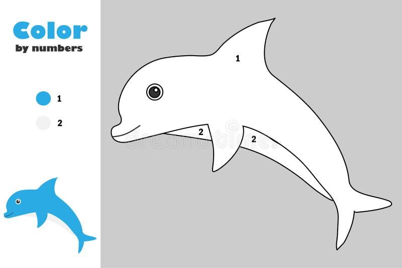 Delfin w kreskówka stylu, kolor liczbą, edukacji papierowa gra dla rozwoju dzieci, barwi stronę, żartuje preschool royalty ilustracja