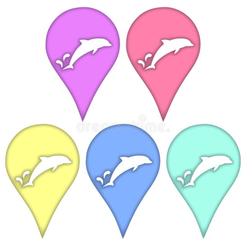 Delfin w technice papierowy ciie out royalty ilustracja