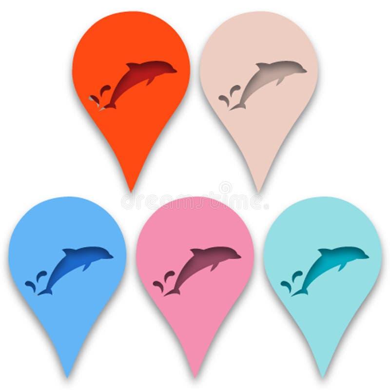 Delfin w technice papierowy ciie out ilustracja wektor