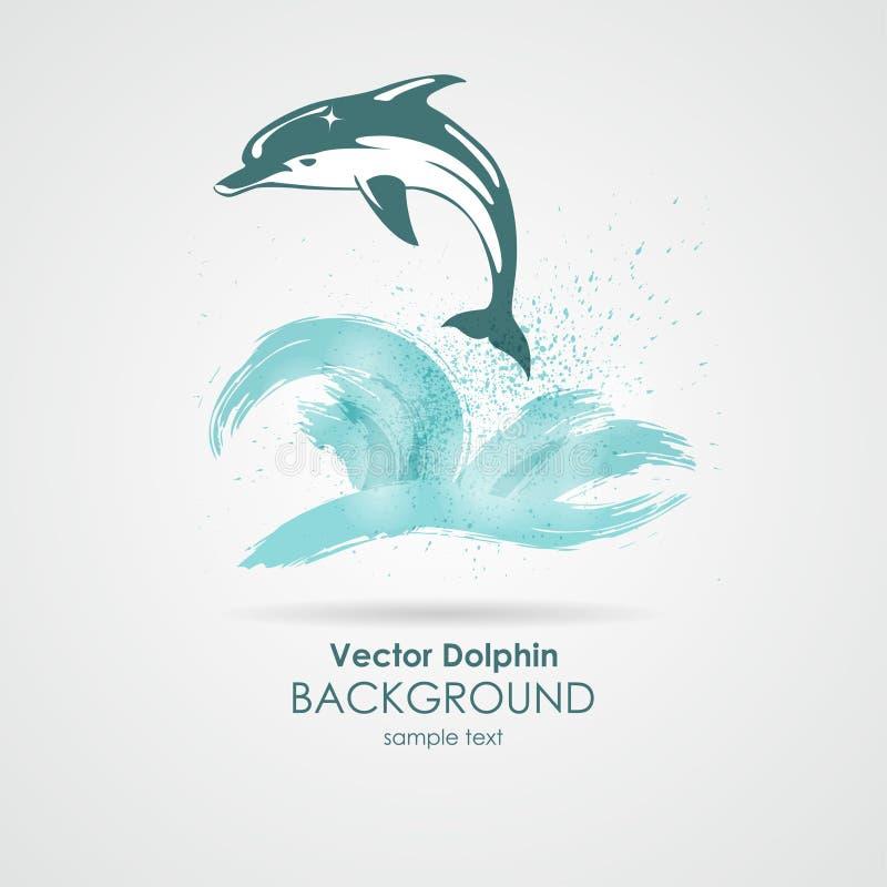 Delfin w wodnym pluśnięciu ilustracji