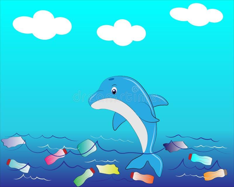 Delfin w wodzie royalty ilustracja