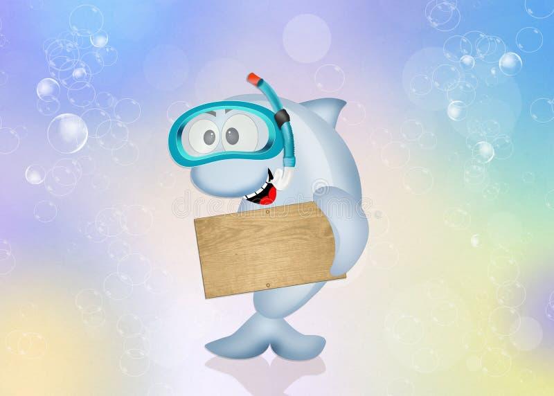Delfin z akwalung maską ilustracji