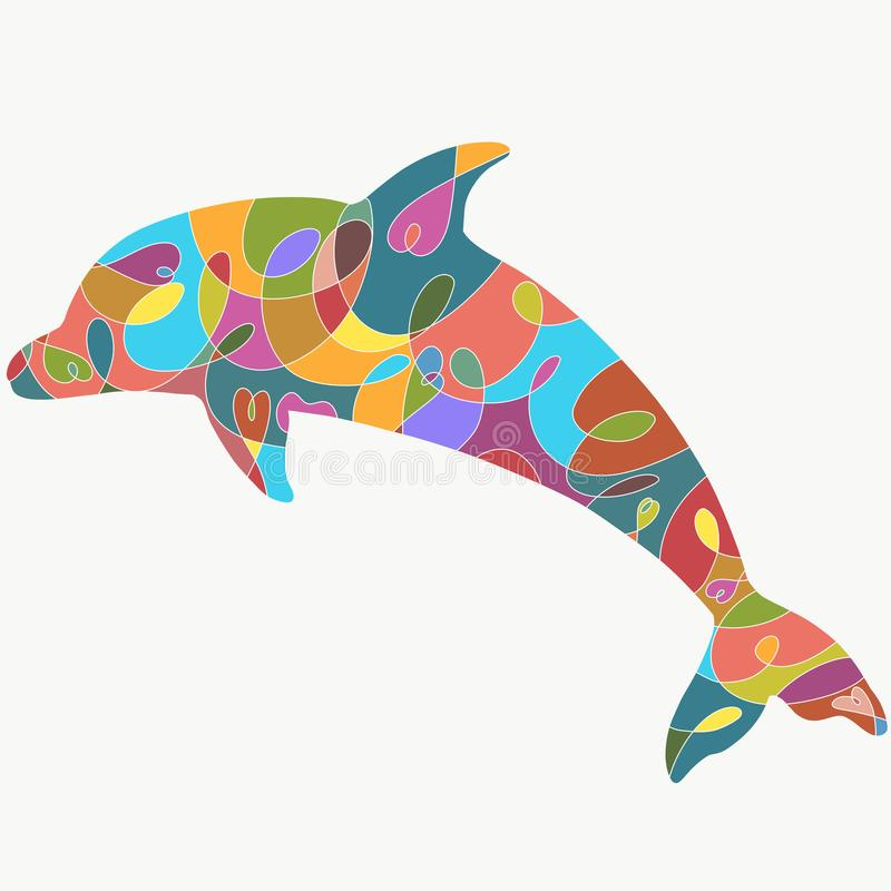 Delfin z kolorowym wzorem, sylwetka royalty ilustracja