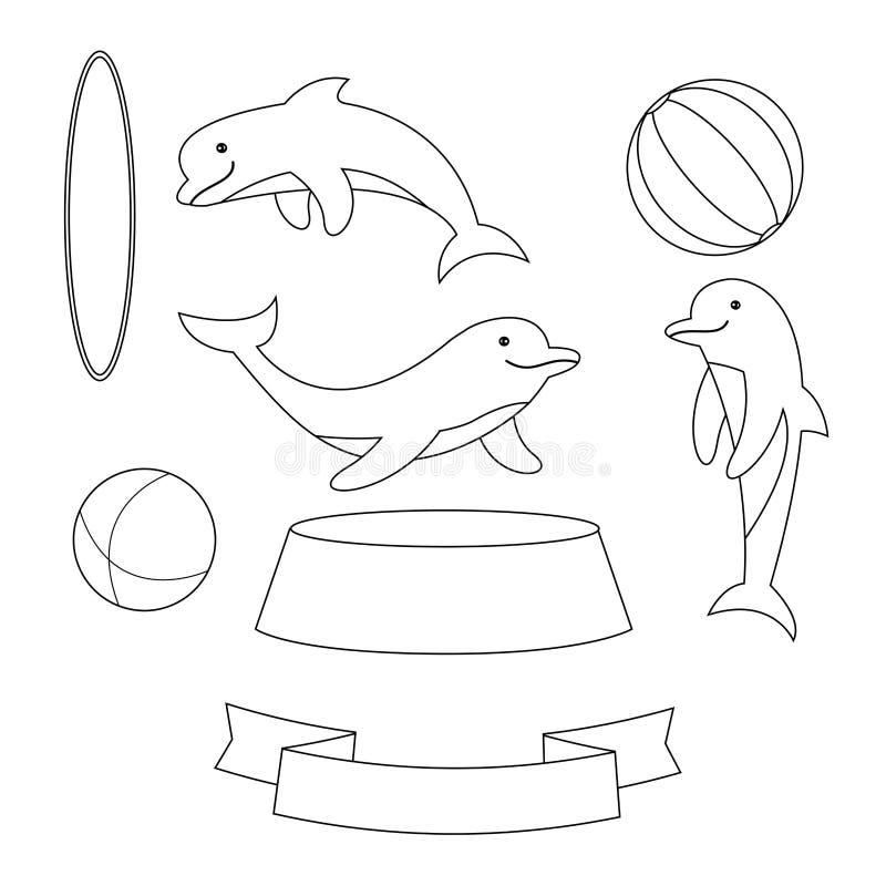 Delfin z piłkami i obręcz odizolowywający na białym tle dla zakazu royalty ilustracja