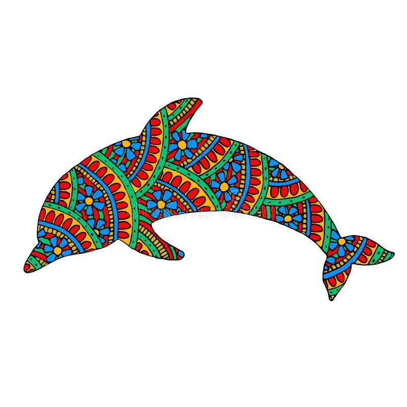 Delfin z stubarwnymi wzorami royalty ilustracja