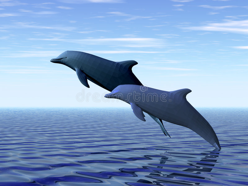 delfiner två royaltyfri illustrationer
