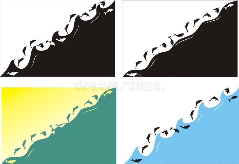 Delfini E Mare Di Salto Fotografie Stock