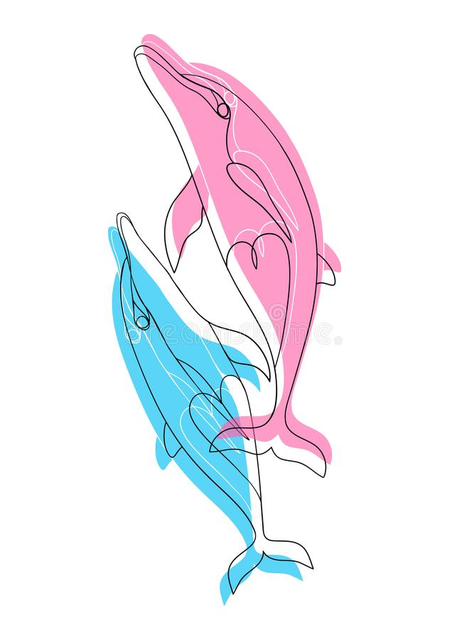 delfini Le coppie dei delfini blu-rosa si innamorano illustrazione di stock