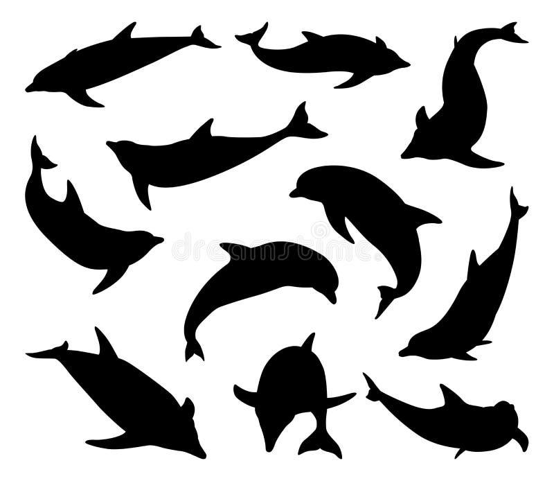 Delfinkonturuppsättning royaltyfri illustrationer