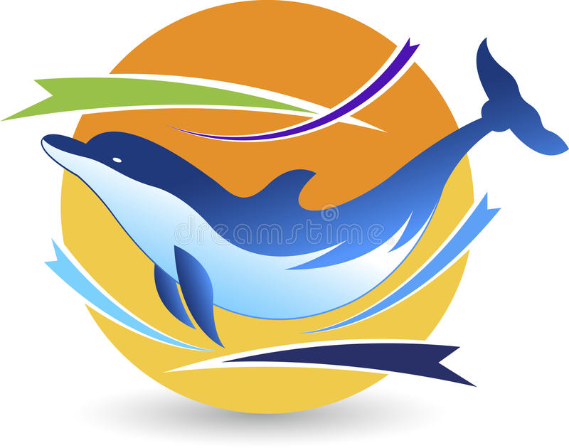 Delfinlogo vektor illustrationer