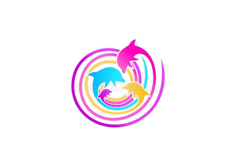 Delfinlogodesign vektor illustrationer