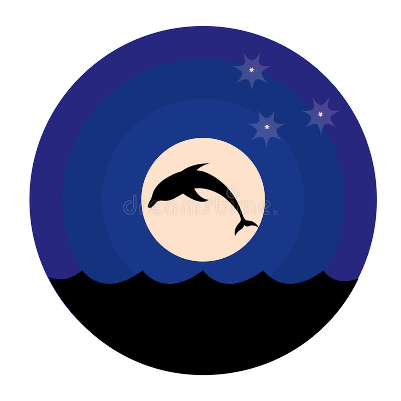 delfinmoonsilhouette stock illustrationer