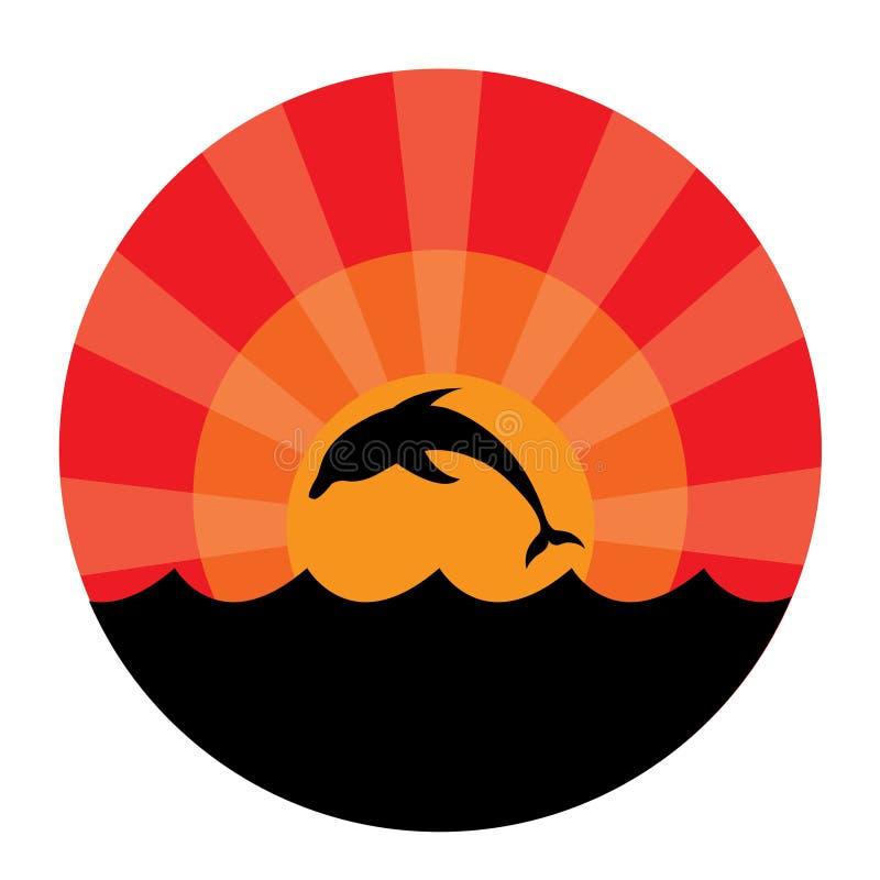 delfinsilhouettesolnedgång vektor illustrationer