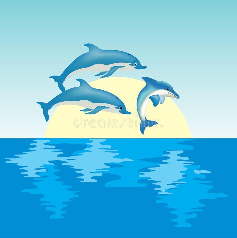 delfinsoluppgång royaltyfri illustrationer