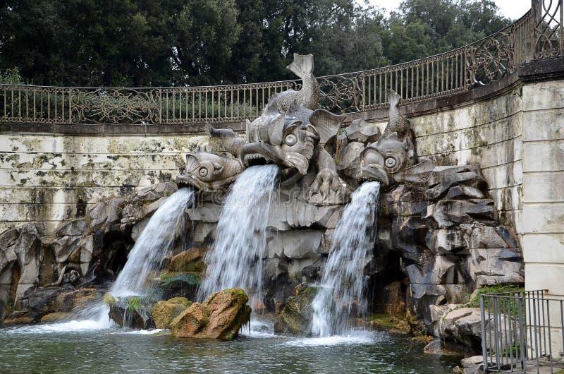 Delfinspringbrunn i parkera av den kungliga slotten av Caserta Italien royaltyfria foton