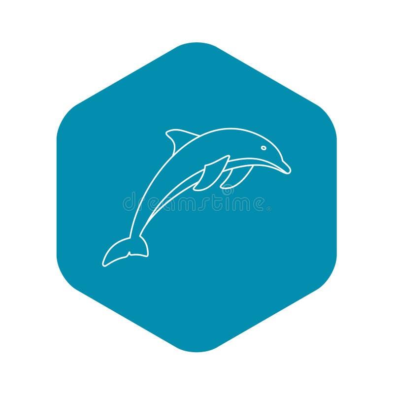 Delfinsymbol, översiktsstil vektor illustrationer