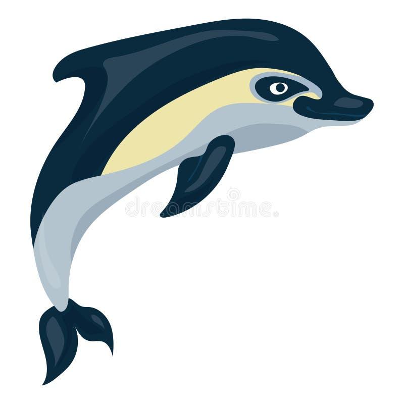 Delfinsymbol, tecknad filmstil stock illustrationer