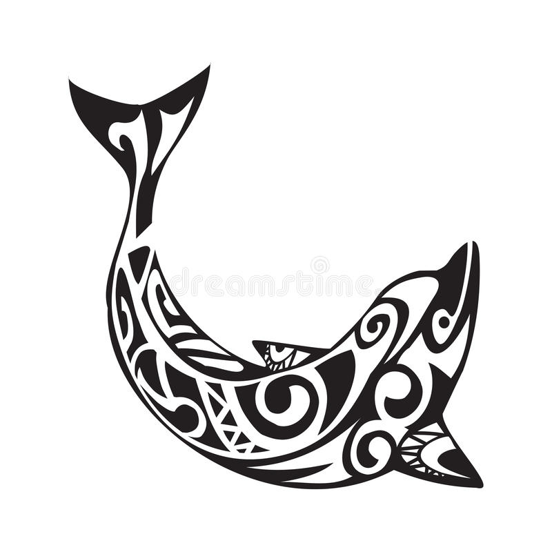 Delfintatuering i maoristil Vektorillustration EPS10 royaltyfri illustrationer