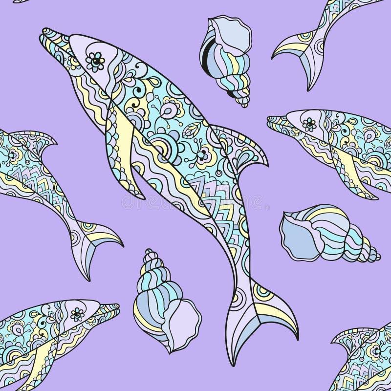 delfinu bezszwowy deseniowy ilustracji
