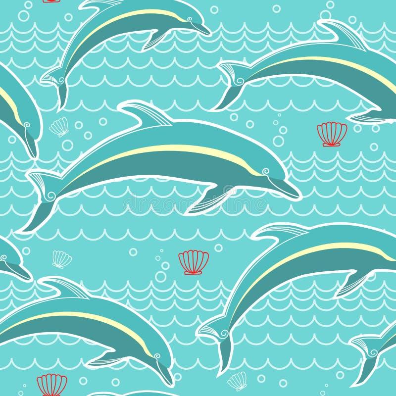 Delfinu bezszwowy wzór. Wektorowy błękitny denny backgrou ilustracja wektor