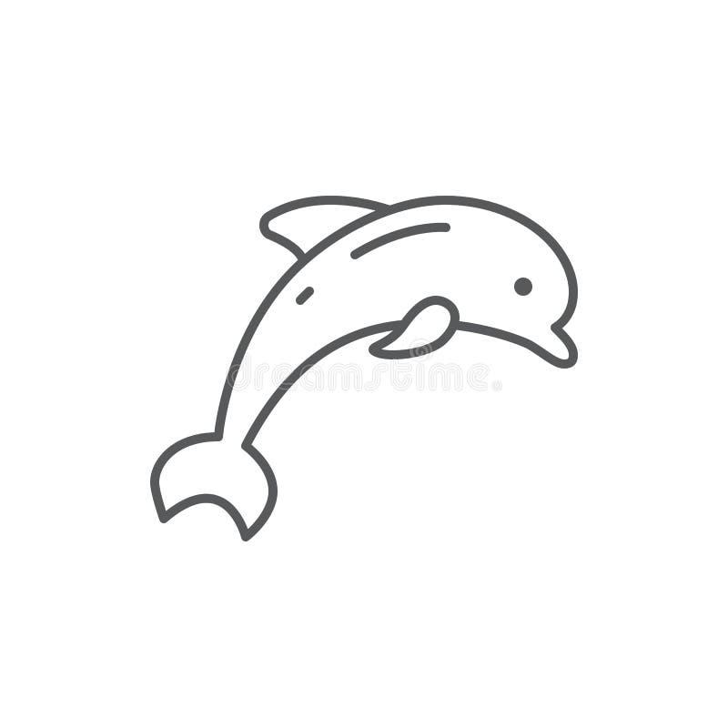 Delfinu doskakiwania linii editable piksla perfect ikona odizolowywająca na białym tle royalty ilustracja