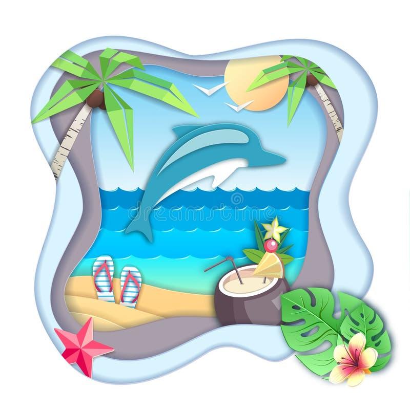 Delfinu doskakiwanie z wody na plażowym tle Ciie za papierowym sztuka stylu projekcie ilustracji