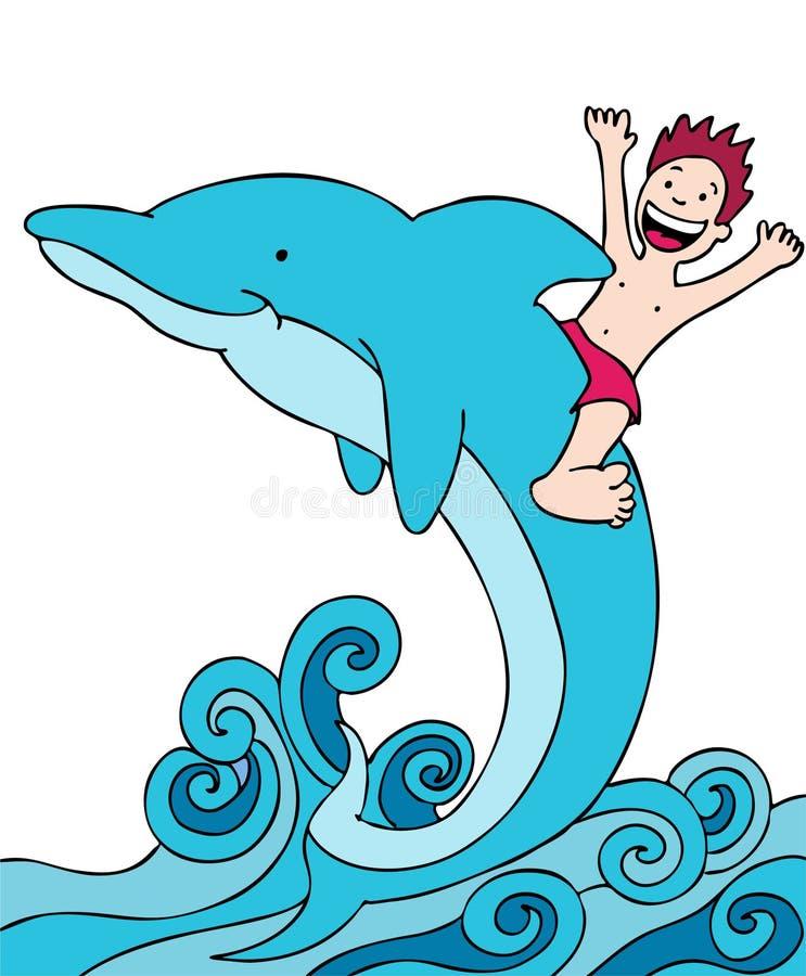 delfinu dzieciaka jazda ilustracja wektor