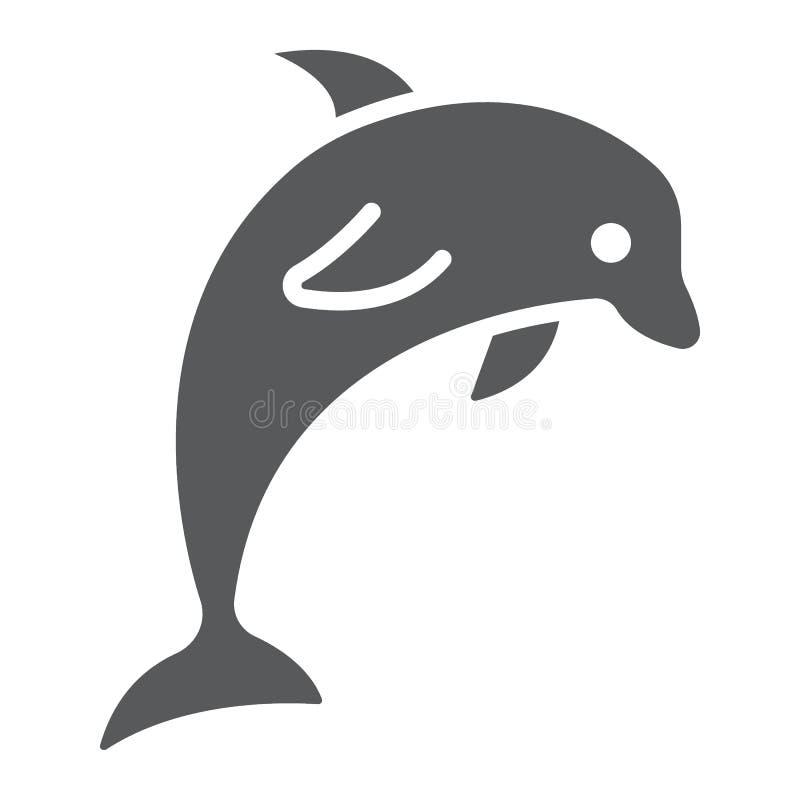 Delfinu glifu ikona, zwierzęcy i podwodny royalty ilustracja