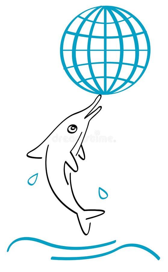 delfinu glob royalty ilustracja