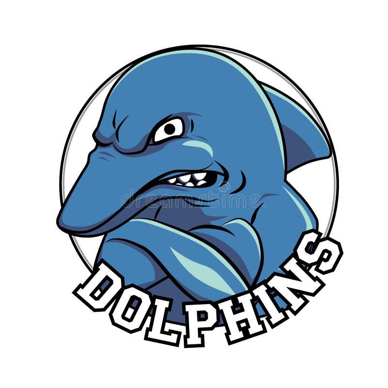 Delfinu loga maskotki głowa z tytułowi delfiny ilustracji