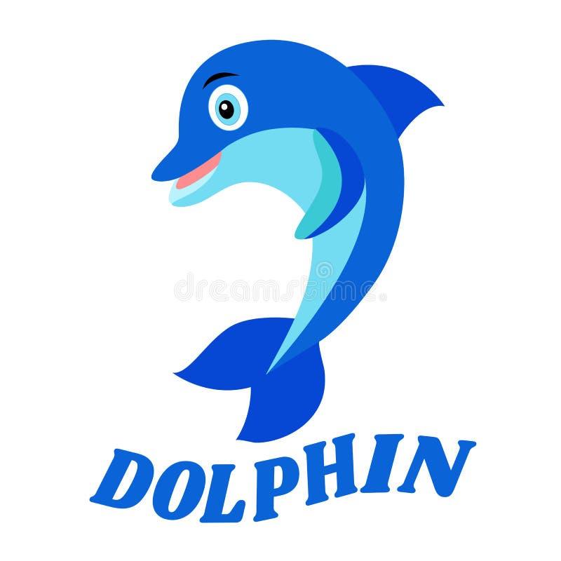 Delfinu loga wektorowy projekt Błękitna odosobniona ikona na białym tle Dolphinarium, pływacki basen lub aquapark logotyp, illust ilustracji