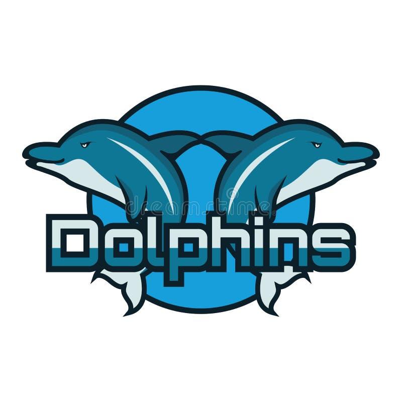 Delfinu logo z tekst przestrzenią dla twój sloganu, etykietki linii odizolowywających na białym tle/ ilustracji