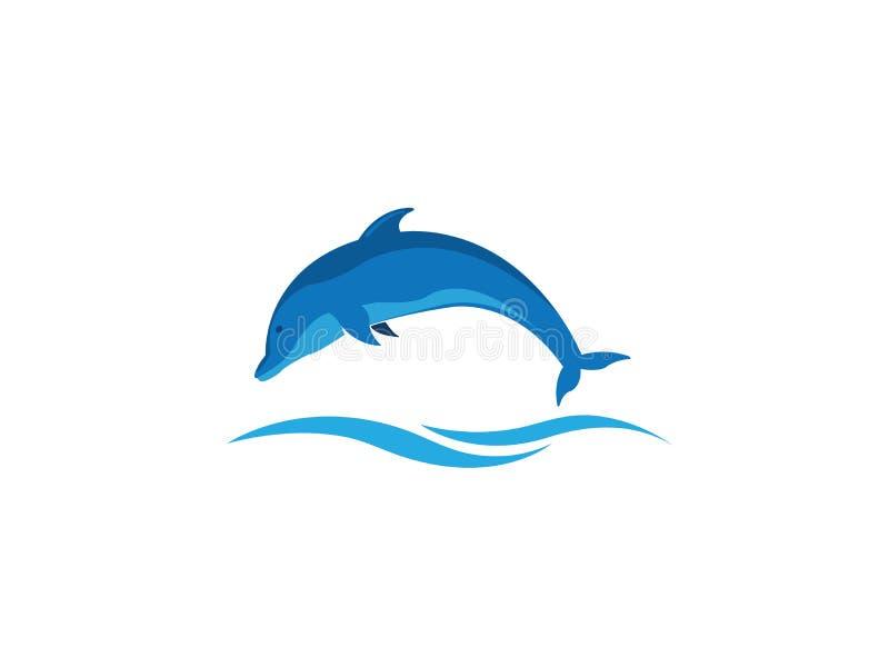 Delfinu mądrze rybi skok w morzu dla logo projekta ilustracji