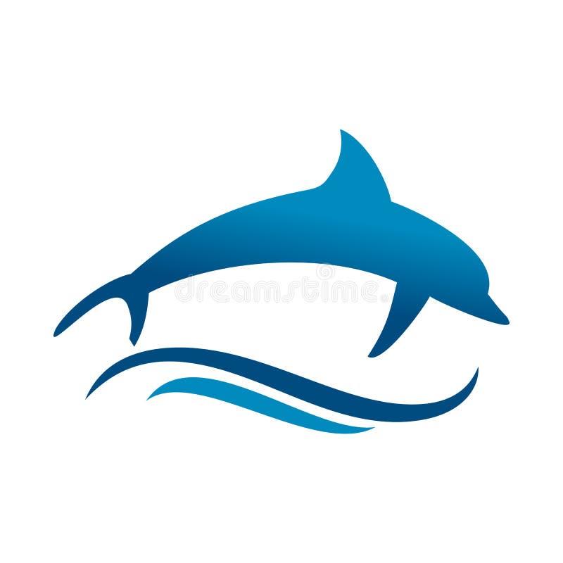 Delfinu morza fali symbolu Skokowy projekt ilustracji