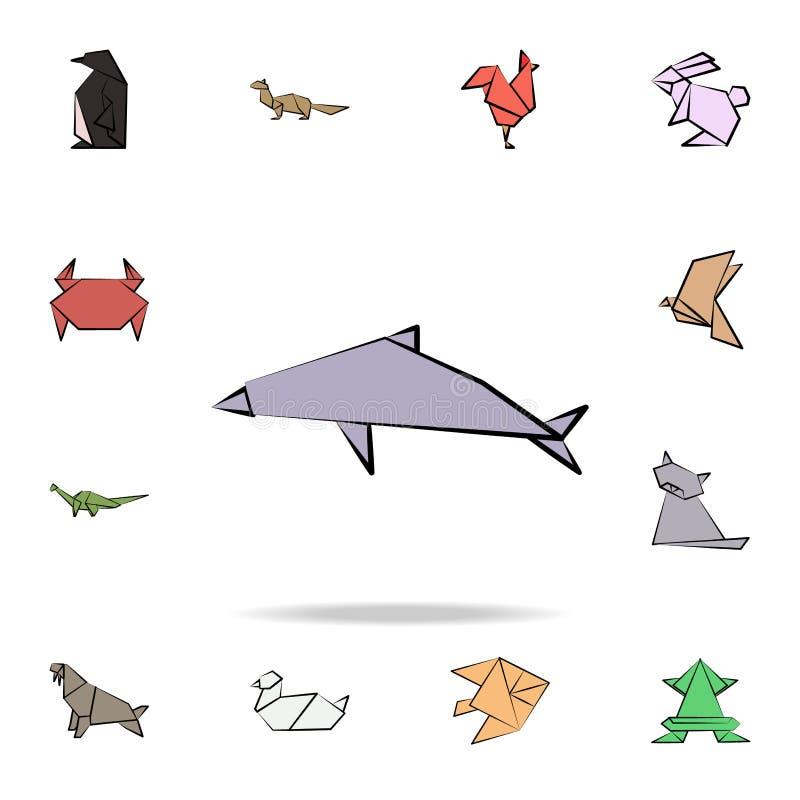 delfinu origami barwiona ikona Szczegółowy set origami zwierzę w ręki rysować stylowych ikonach Premia graficzny projekt Jeden royalty ilustracja