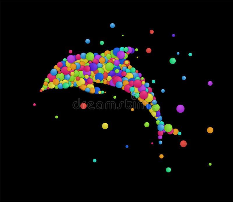 Delfinu pojęcie, delfin tworzący od małych barwionych bryzga części, emocje kształtuje ikony stubarwny odosobnionego, royalty ilustracja