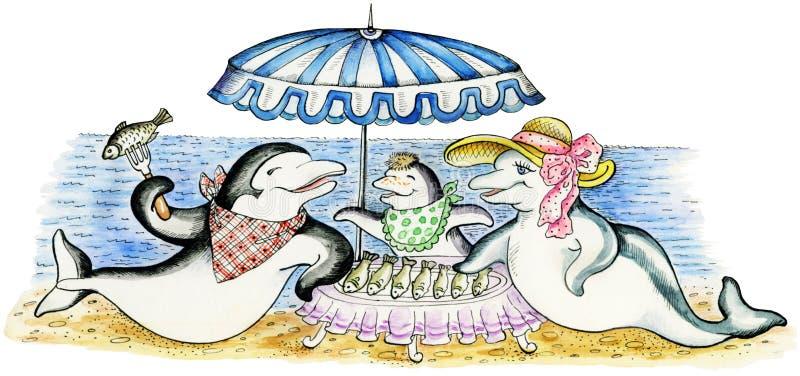 Delfinu `s rodzina na plaży pinkinie ilustracja wektor