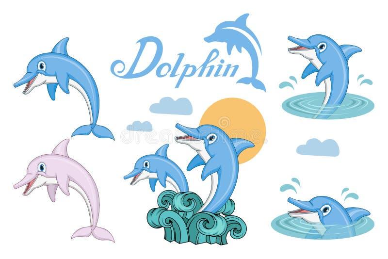 Delfinu set Kreskówka delfin pochodzenie zwierząt kolorów plam Croatia foto ogniska piękną ośmiornice octpous bardzo zróżnicowany ilustracji