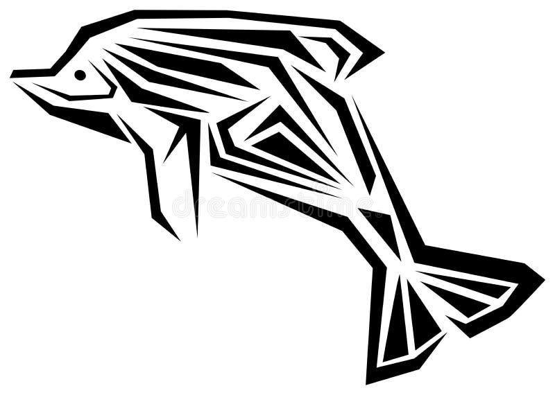 Delfinu tatuaż w czarny i biały odosobnionym royalty ilustracja