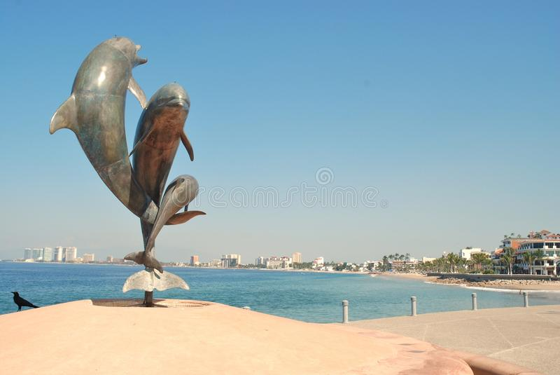 Delfinu ustawa na Malecón w Puerto Vallarta II zdjęcia royalty free