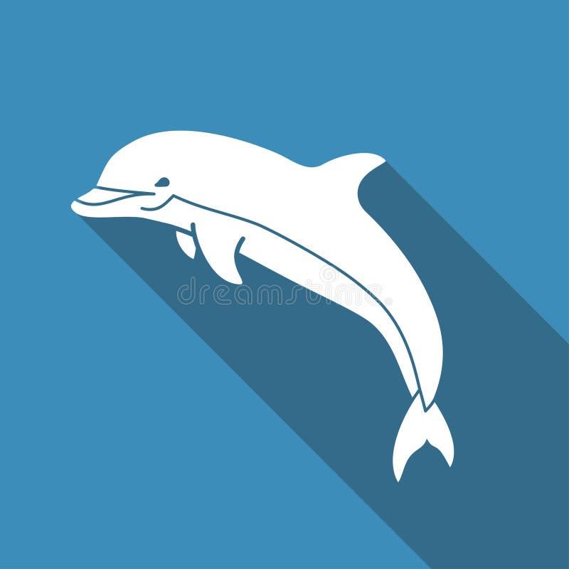 Delfinvektorsymbol stock illustrationer