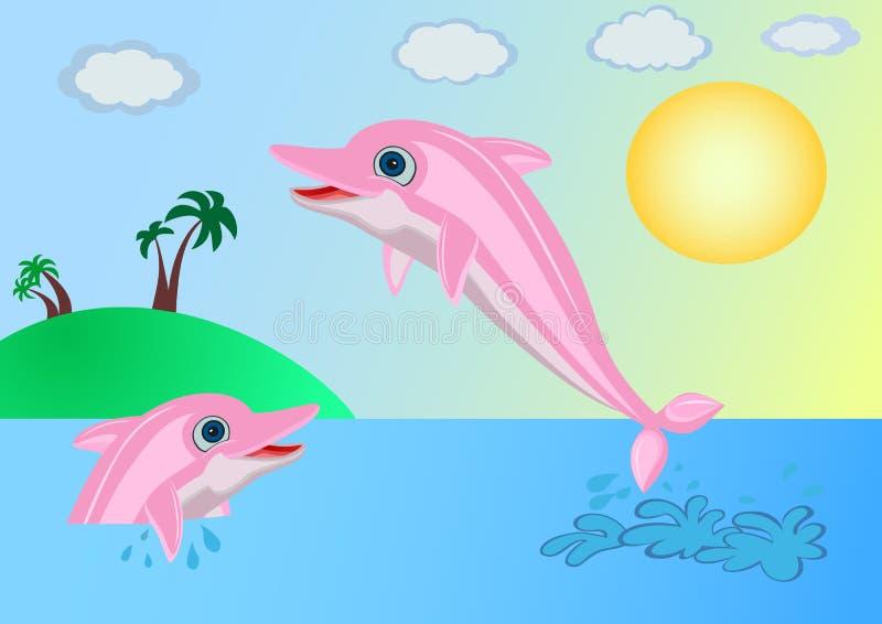 Delfiny blisko wyspy ilustracji