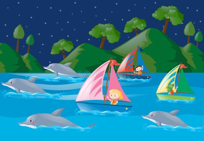 Delfiny i dzieciaki w oceanie royalty ilustracja