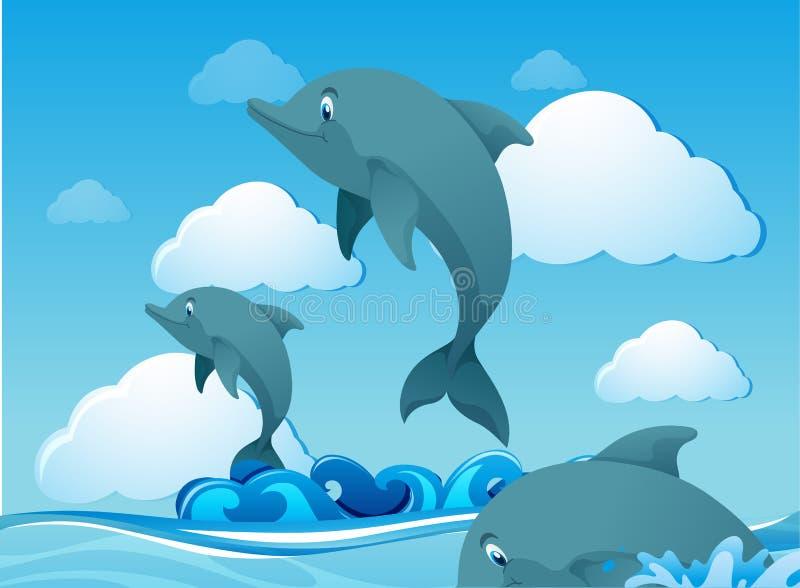 Delfiny pływa w oceanie royalty ilustracja
