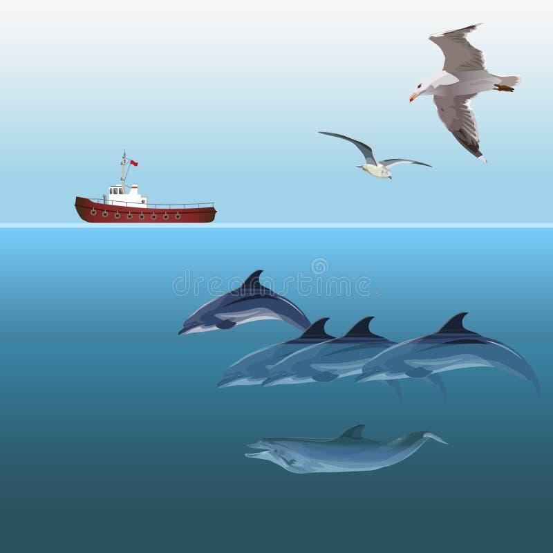 Delfiny pływa wektor royalty ilustracja