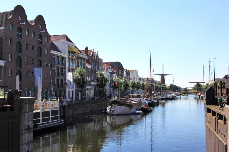 Delfshaven seen from Piet Heynsbridge, Holland. Quaint Delfshaven (it survived the war) was once the official seaport for the dutch city of Delft. A stock photos