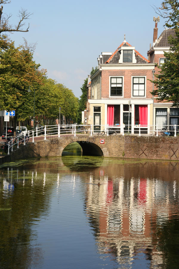 Delft. Little bridge over a canal in Delft, Holland royalty free stock photography