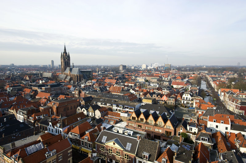 Delft from Above. The historic university city of Delft, the netherlands, with the old church and het Prinsenhof in clear view on the left royalty free stock photos